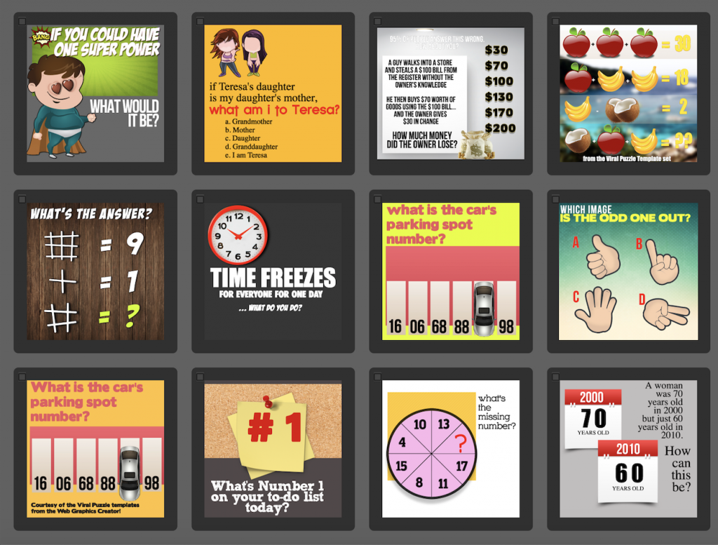 More viral puzzle templates