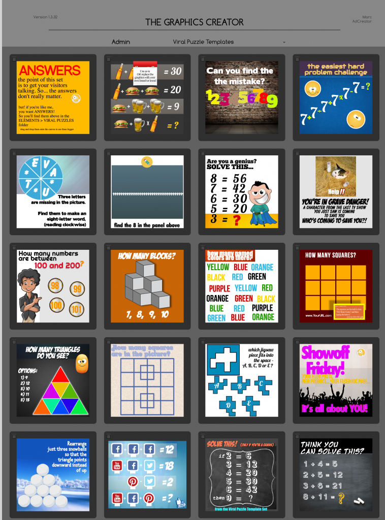 Viral puzzle templates inside Graphics Creator software