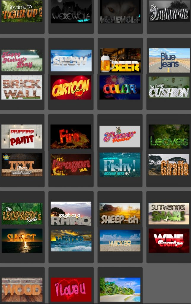 Text effects you can design with The Graphics Creator software and templates
